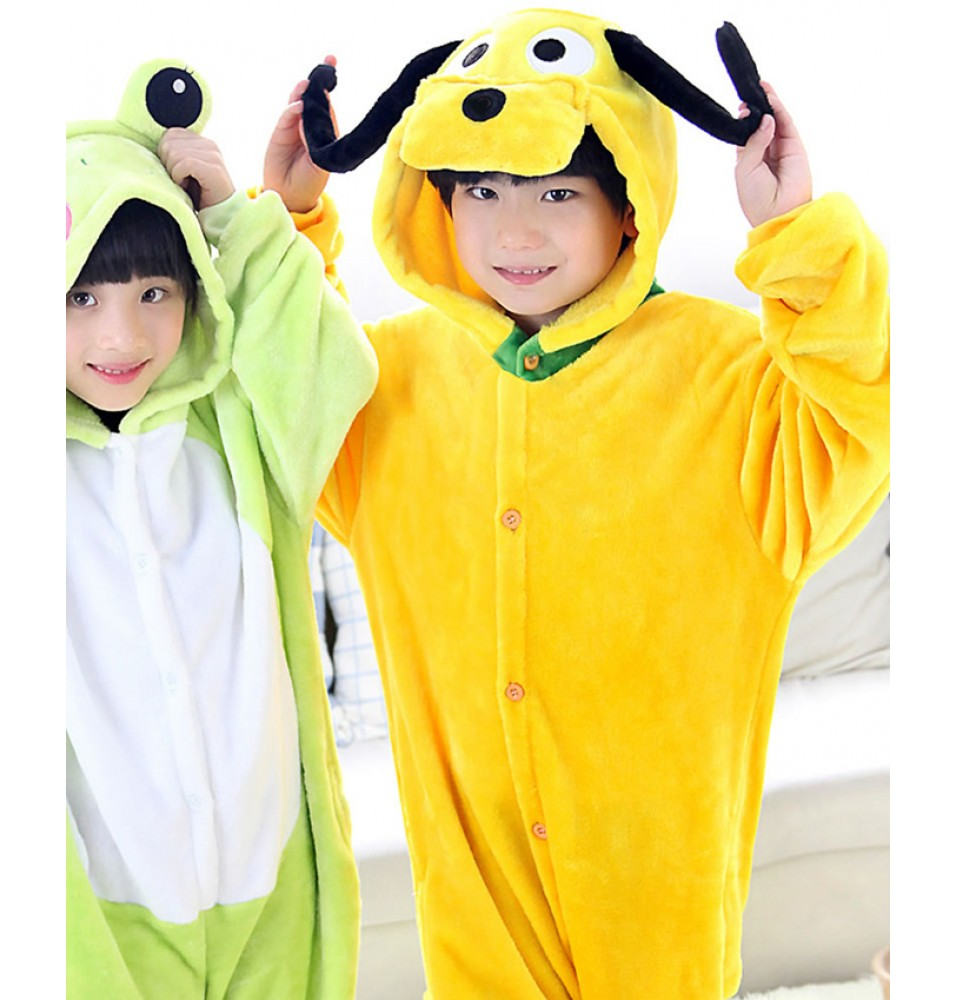Goofy Dog Onesies Pajamas Flannel Children Kigurumi Onesies Winter Animal Pajamas For Kids