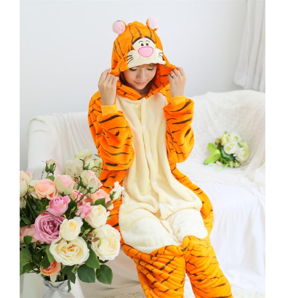Tiger Onesies Pajamas Unisex Flannel Kigurumi Onesies Winter Animal Pajamas For Adults
