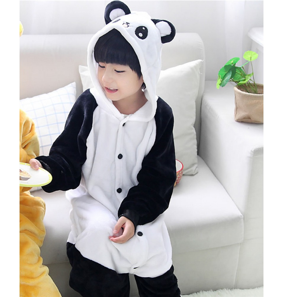 Panda Onesies Pajamas Flannel Children Kigurumi Onesies Winter Animal Pajamas For Kids