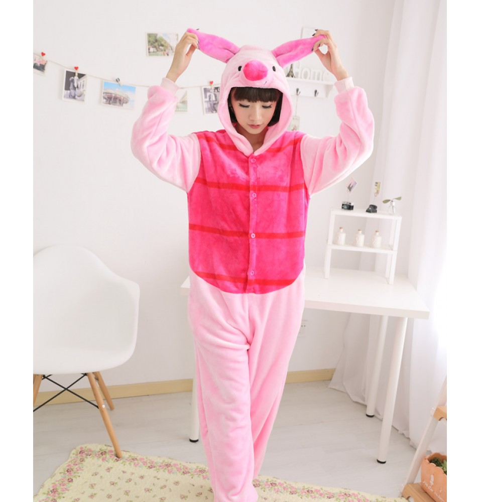 Pig Onesies Pajamas Unisex Flannel Kigurumi Onesies Winter Animal Pajamas For Adults