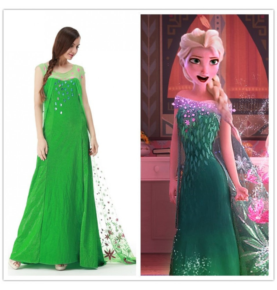 Frozen Fever Elsa Dress Cosplay Costumes