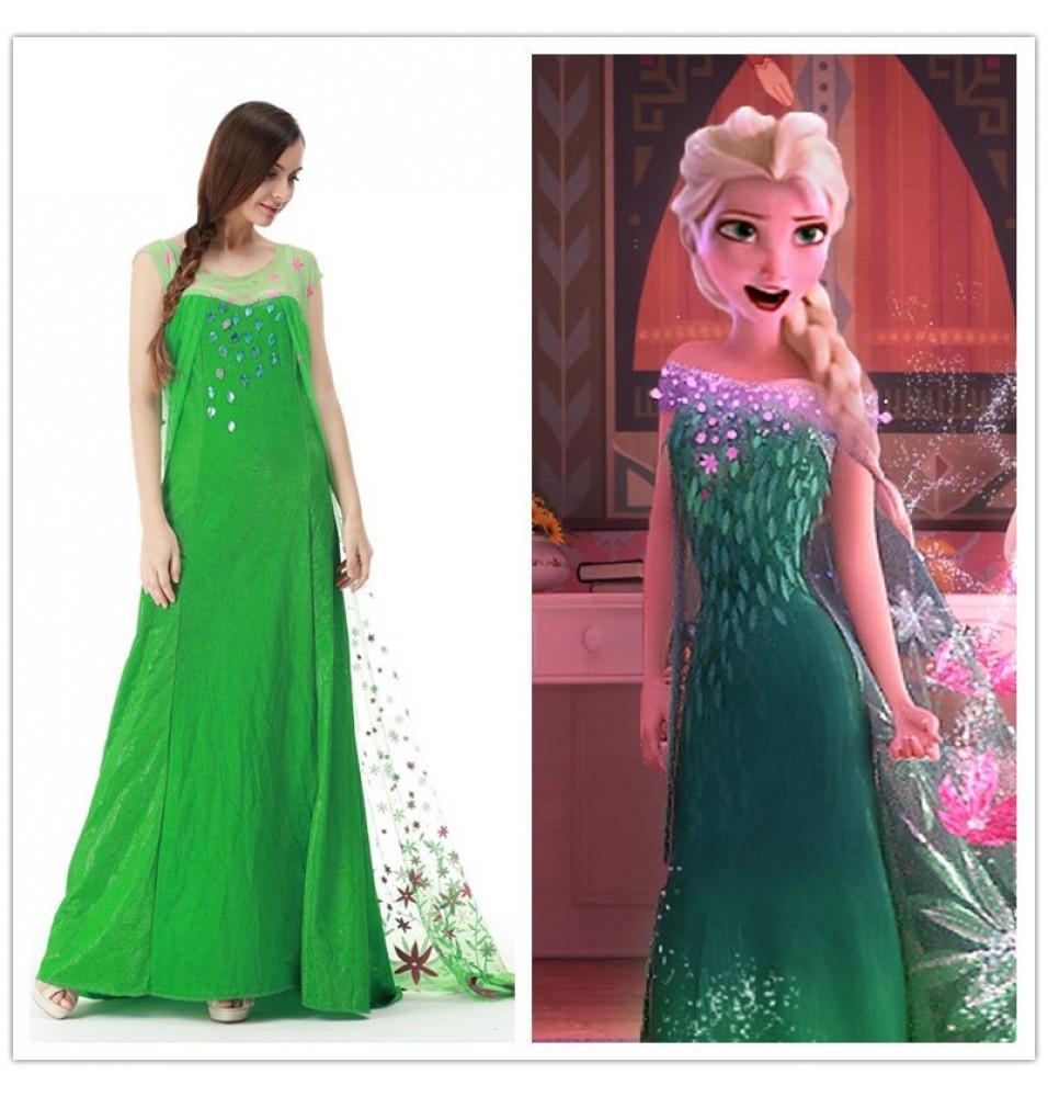 Frozen Fever Elsa Dress Cosplay Costumes