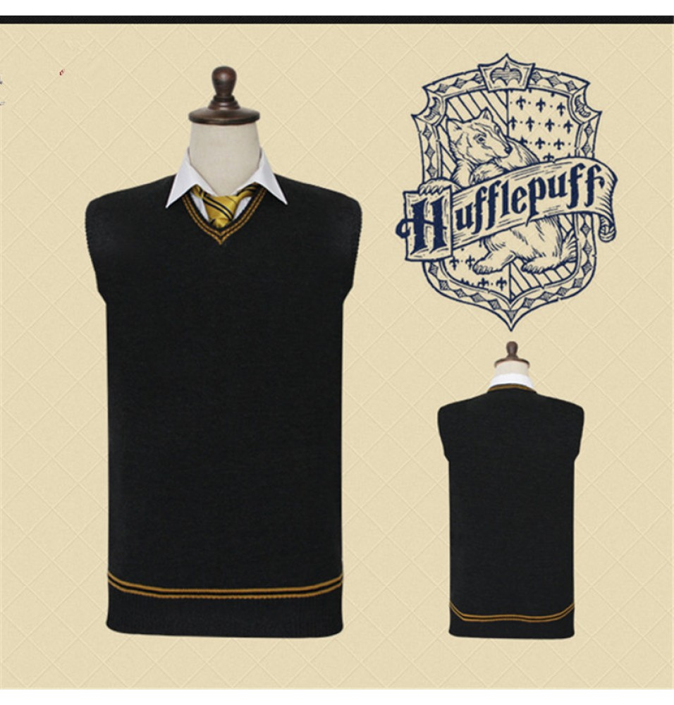 Harry Potter Hufflepuff Vest Sweater School Uniform