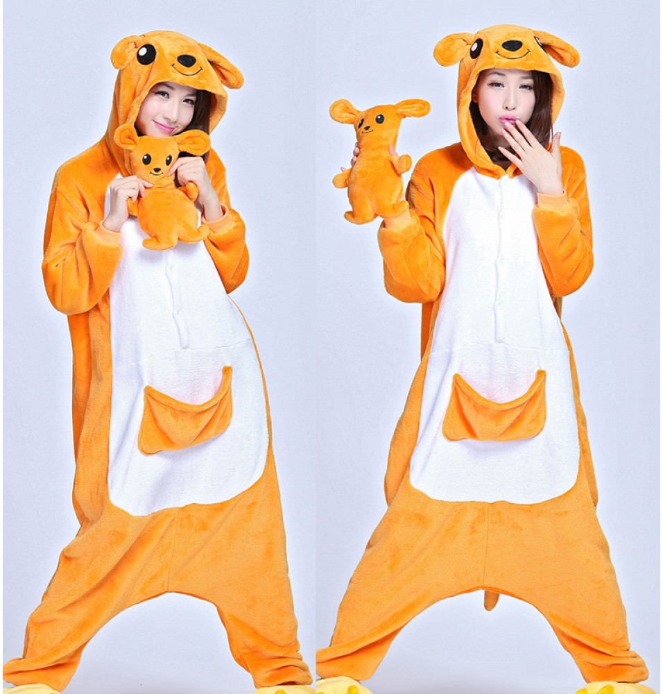 Kangaroo Onesie Winter Kigurumi Pajamas for Adults