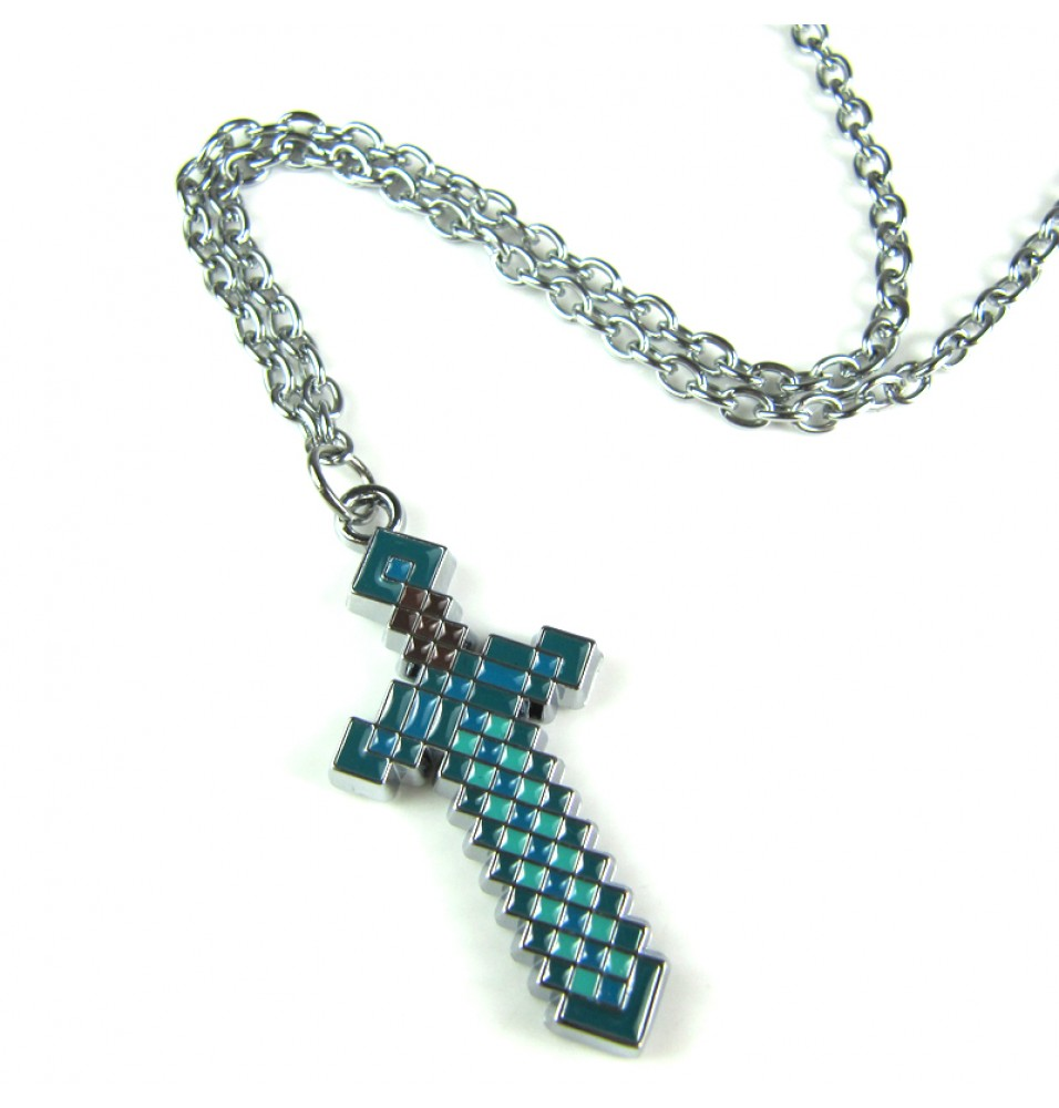 Minecraft Diamond Blue Sword Necklace
