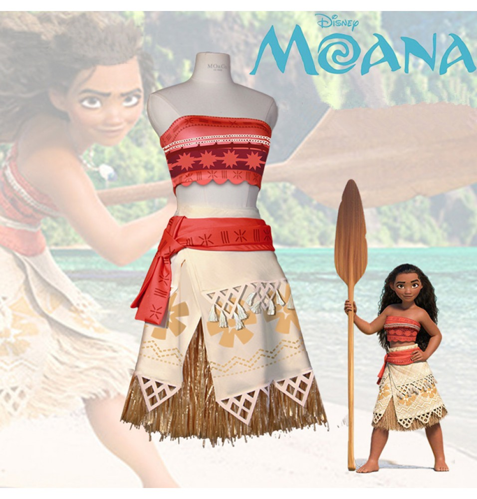 Movie Moana princess Dress Cosplay Costume Kids Adults Christmas Party