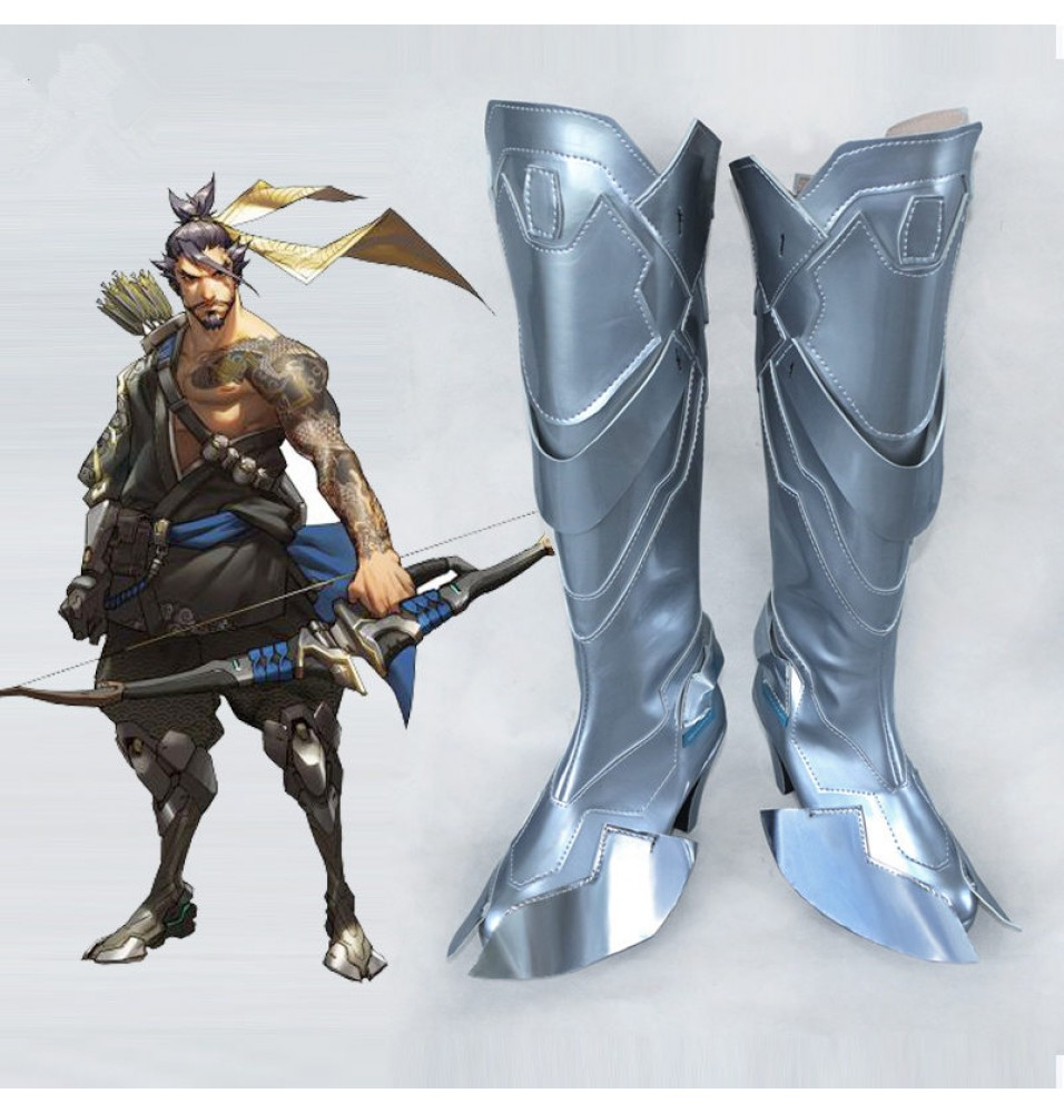 Overwatch OW Hanzo Shimada Silver Shoes Cosplay Halloween Boots