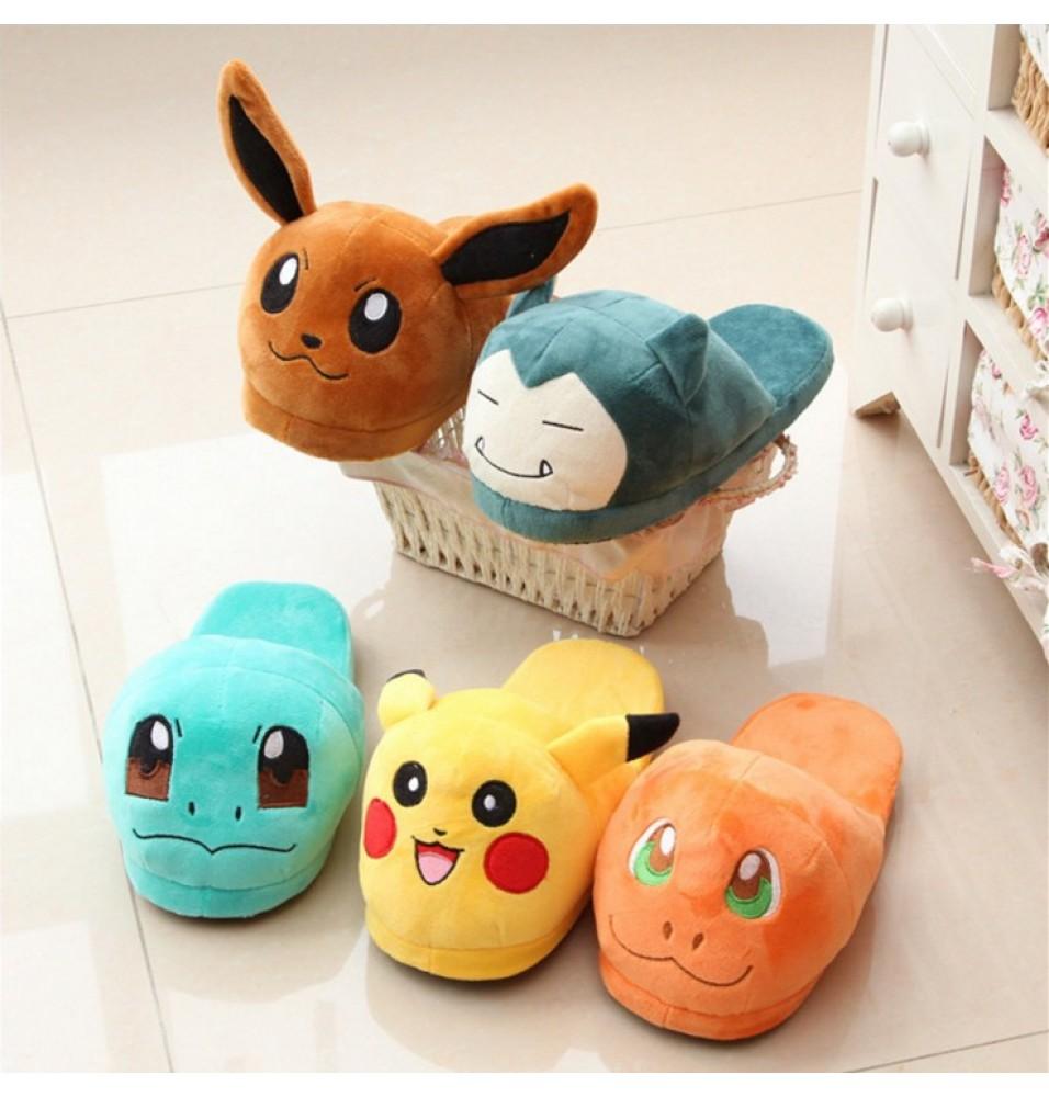 Pokemon Go Slippers Elf Ball Pikachu Eevee Umbreon Plush Shoes
