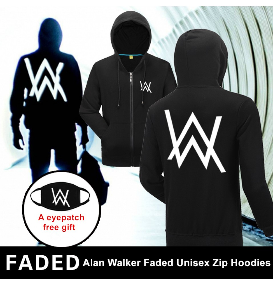 Rock Star Alan Walker Logo Unisex Faded Zip Hoodies