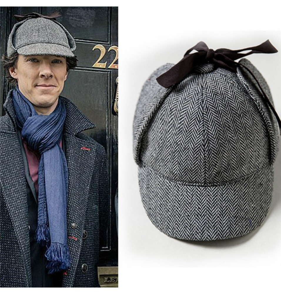 Sherlock Holmes Detective Herringbone Deerstalker Hat Double Brimed Cap