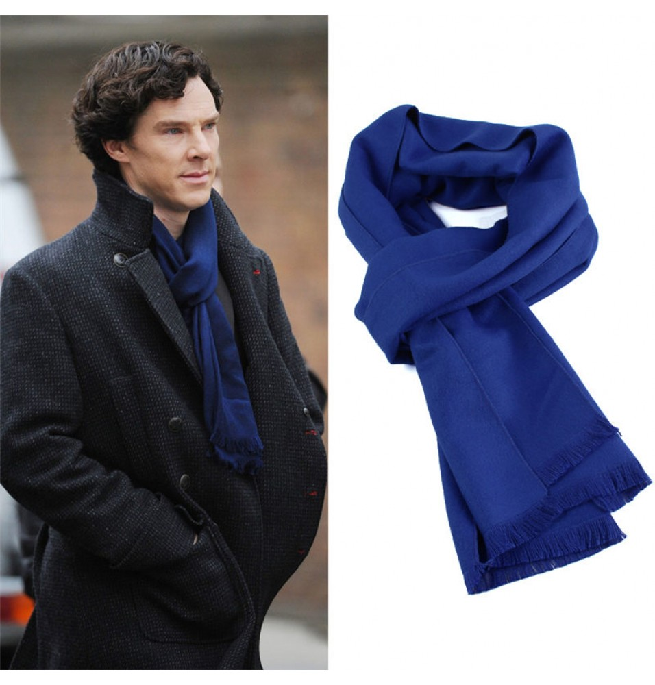 Sherlock Holmes Long Blue Wool Cashmere Scarf
