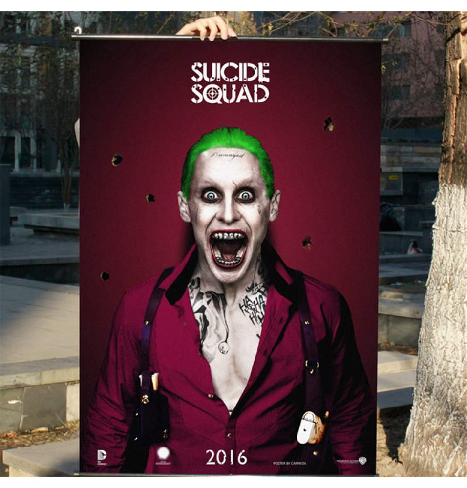 Suicide Squad Joker Clown Jared Leto Poster Decor With Hanging Scrolls