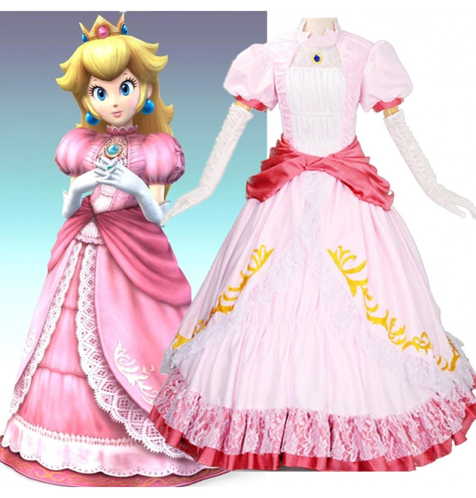 Timecosplay Super Mario Princess Peach Pink Dress Cosplay Party Costume