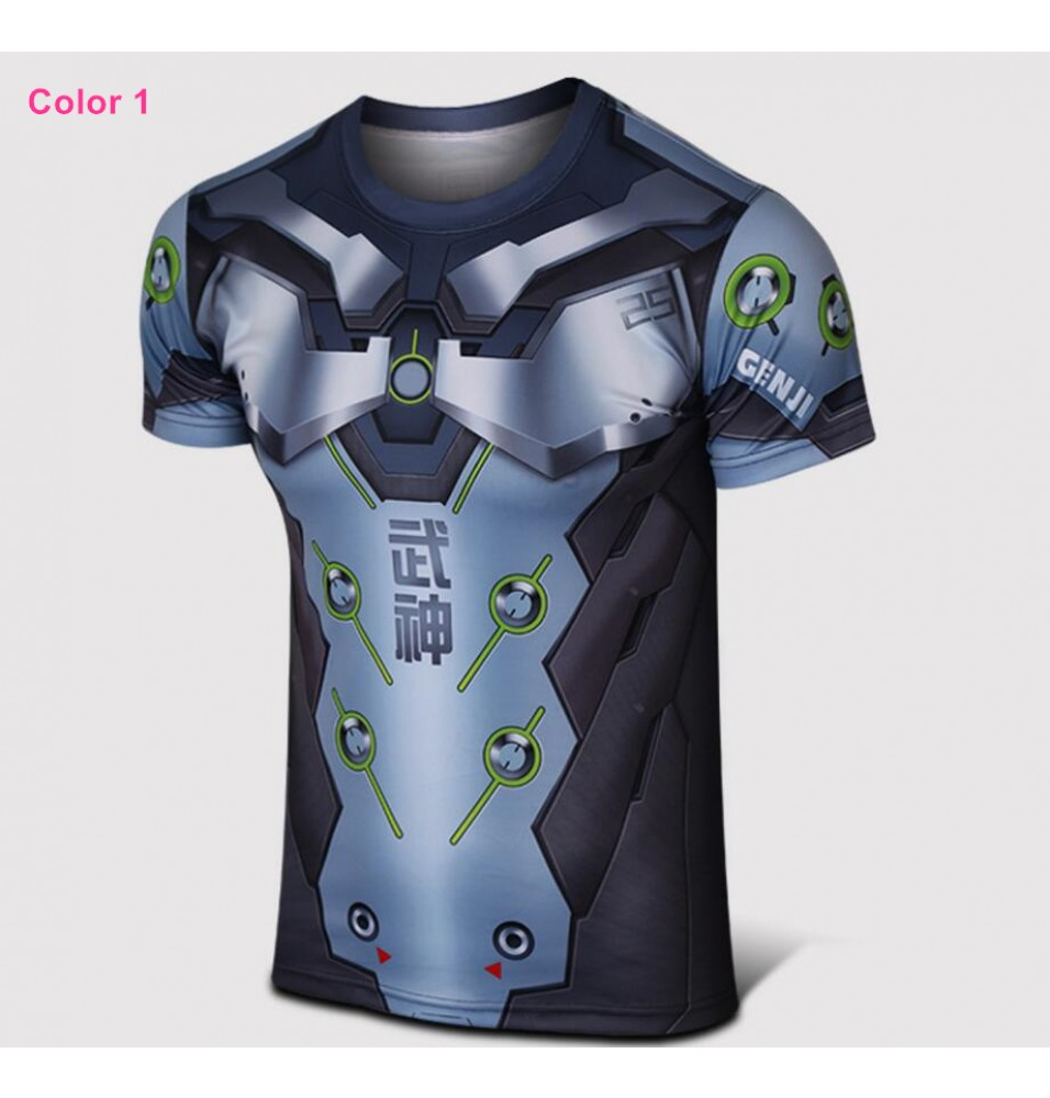 Timecosplay Overwatch Hero Genji Cosplay Sport Tight  3D Tee Shirt