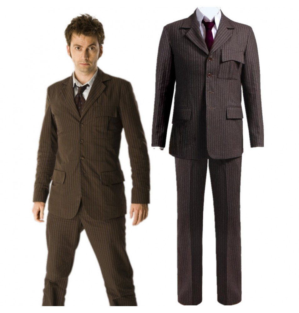 Timecosplay10th Doctor Who Pinstripe Suit Blazer Pants Cosplay Costume