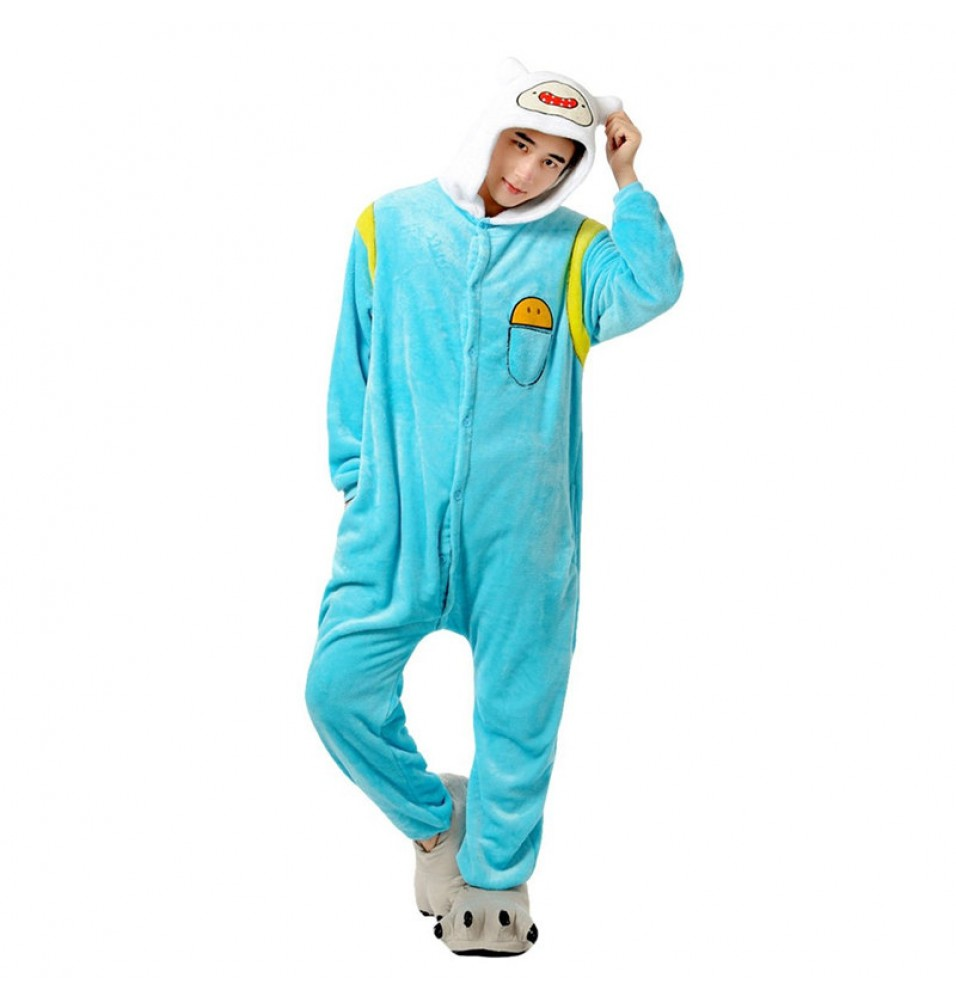 TimeCosplay Adventure Time Finn Cosplay Onesie Pajamas Halloween Animal Kigurumi