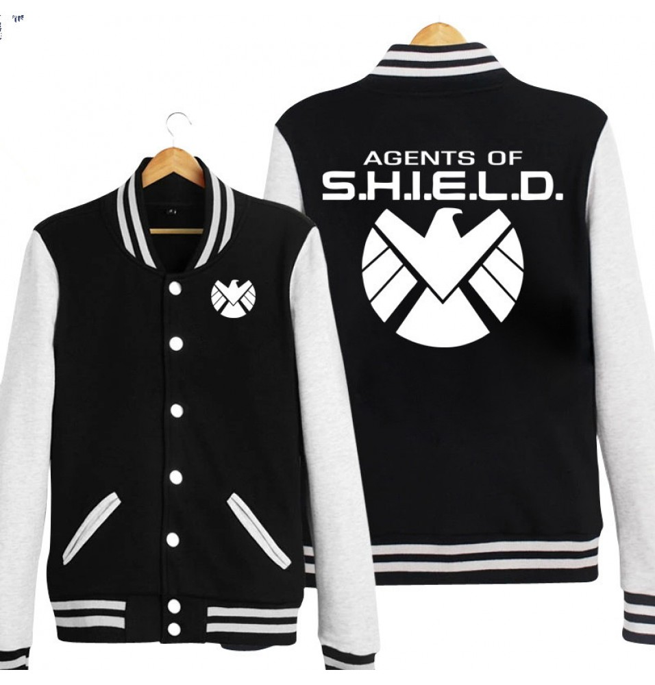 TimeCosplay Agents Of S.H.I.E.L.D Logo Zipper Hoodie Baseball Jacket Overcoat