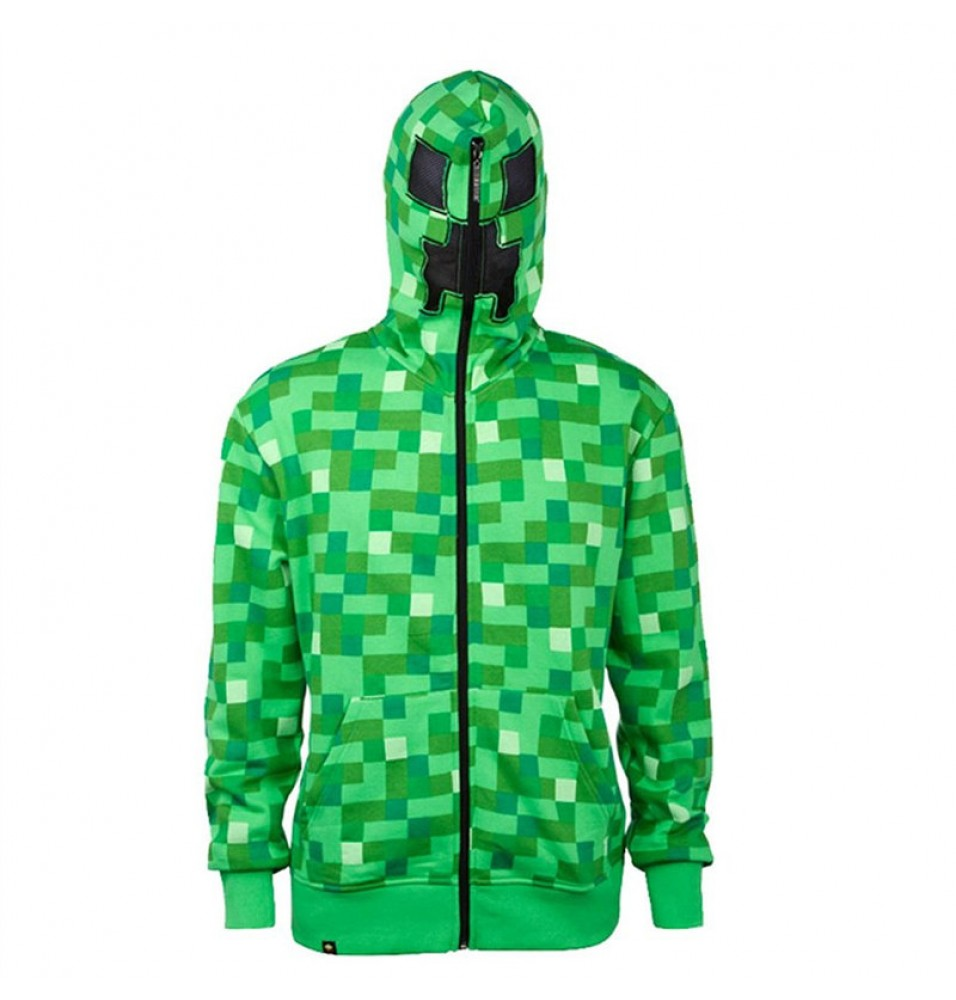 TimeCosplay Minecraft Creeper Premium Zip-Up Hoodie Green Jacket