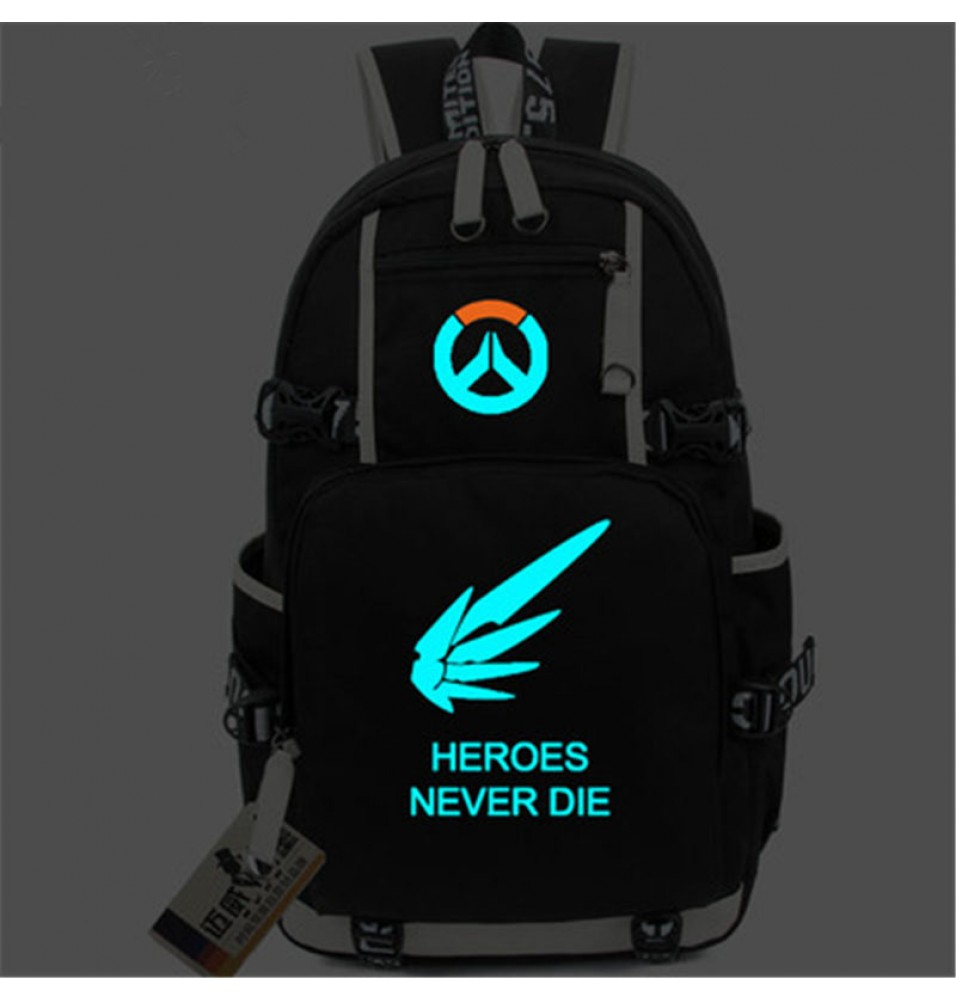 Timecosplay Overwatch Mercy Angela Ziegler Icon Logo Bag Noctilucent Luminious Backpack Schoolbag