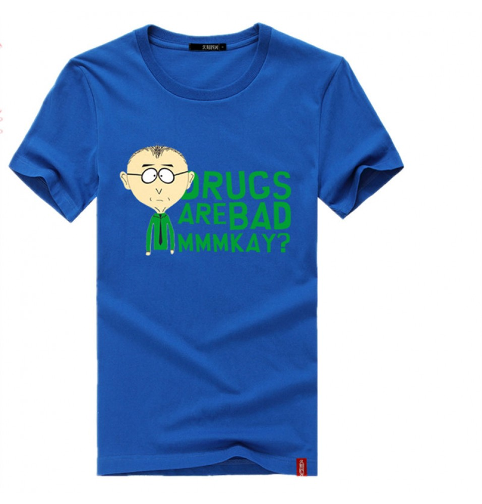 Timecosplay South Park DRUCS ARE BAD MMMKAY logo Short Sleeve Tee Shirts