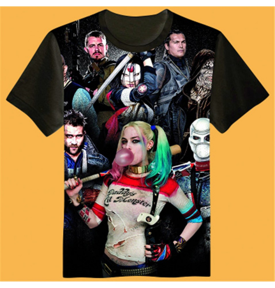 Timecosplay Suicide Squad Icon 3D Print Harajuku Men Tee Shirts