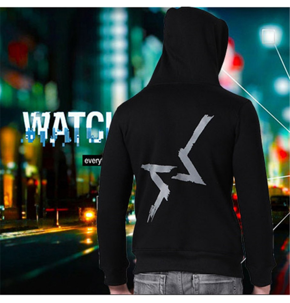 TimeCosplay Watch Dogs Logo Men Zipper Hoodies