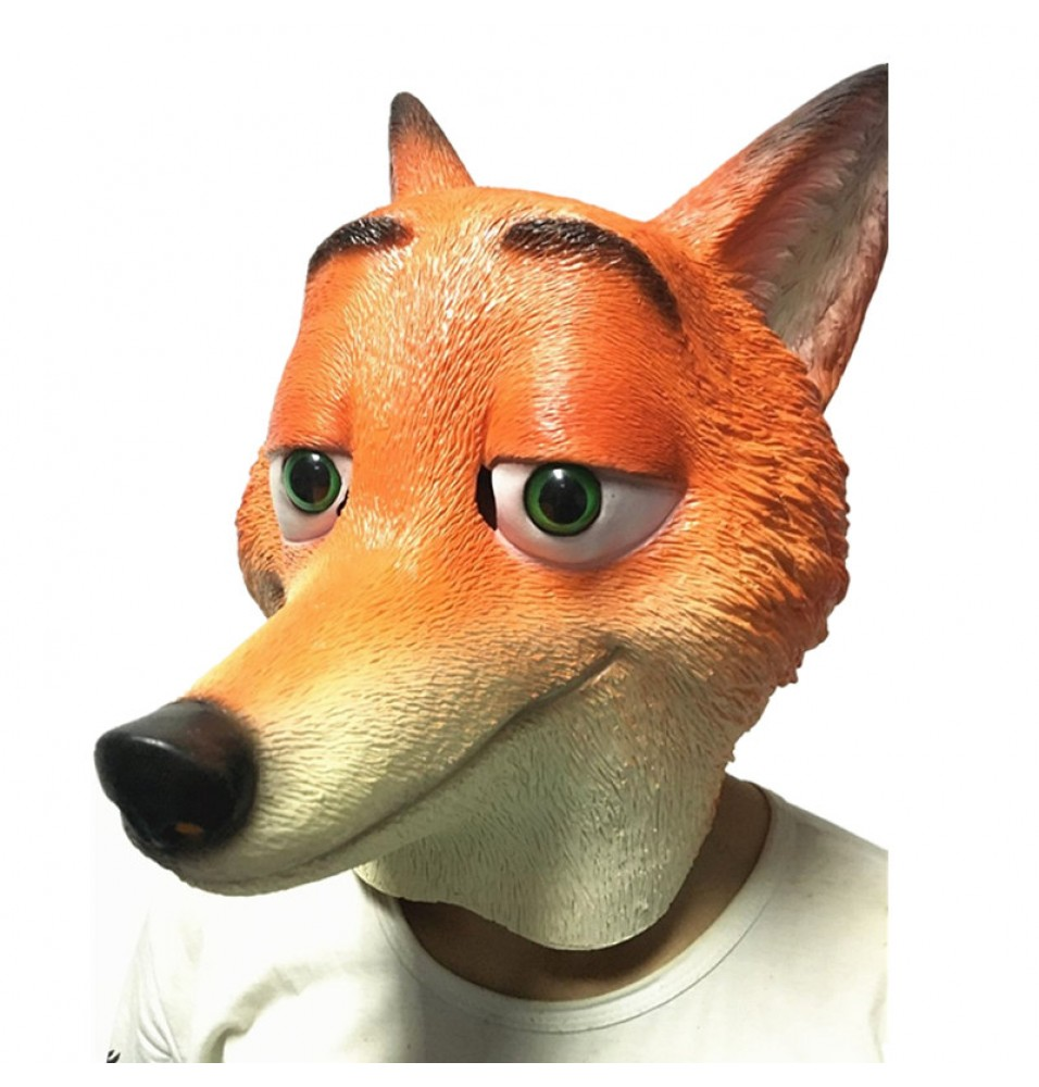 TimeCosplay Zootopia Nick Wilde Fox Cosplay Latex Mask Halloween