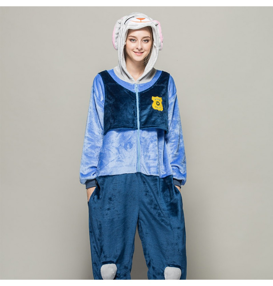 TimeCosplay Zootopia Judy Hopps Cosplay Onesie Pajamas Halloween Animal Kigurumi