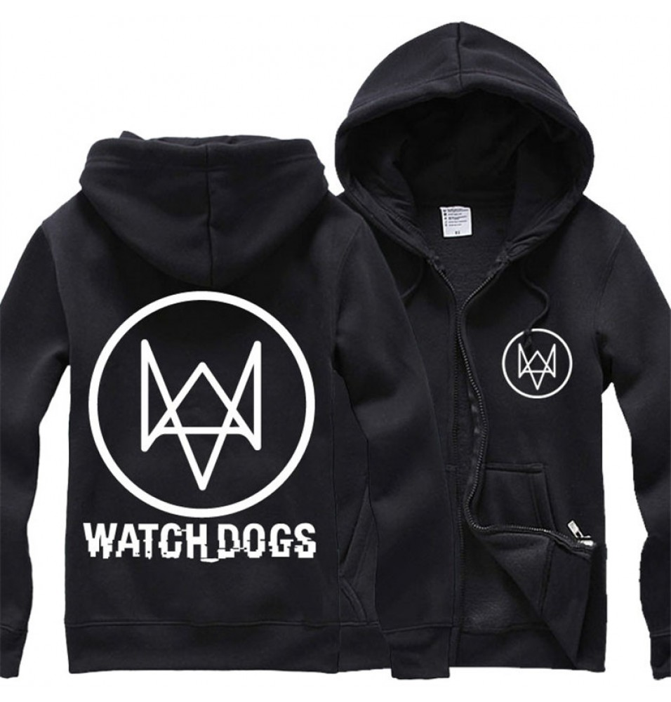 Watch Dogs Logo Men Cosplay Zipper Hoodies