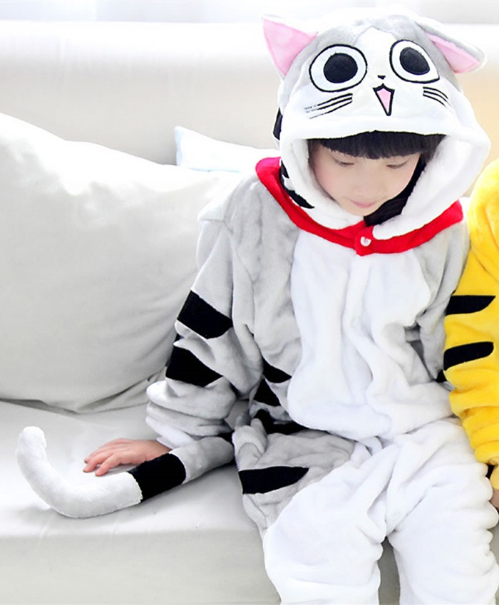 Cat Onesies Pajamas Flannel Children Kigurumi Onesies Winter Animal Pajamas For Kids