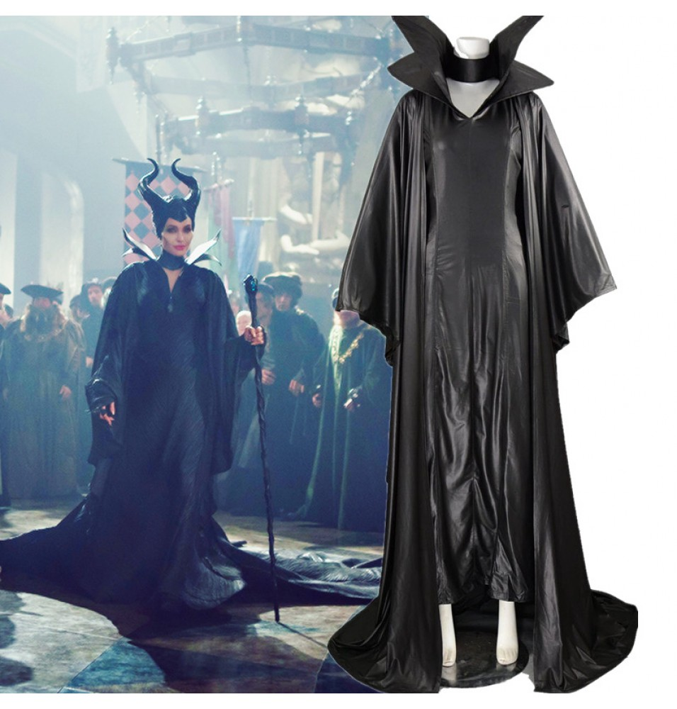 Disney Maleficent Cosplay Angelina Jolie Black Withch Cloak Dress Costume