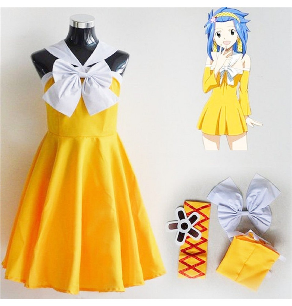 Timecosplay Fairy Tail Levy Mcgarden Cosplay  Yellow Dress Costume