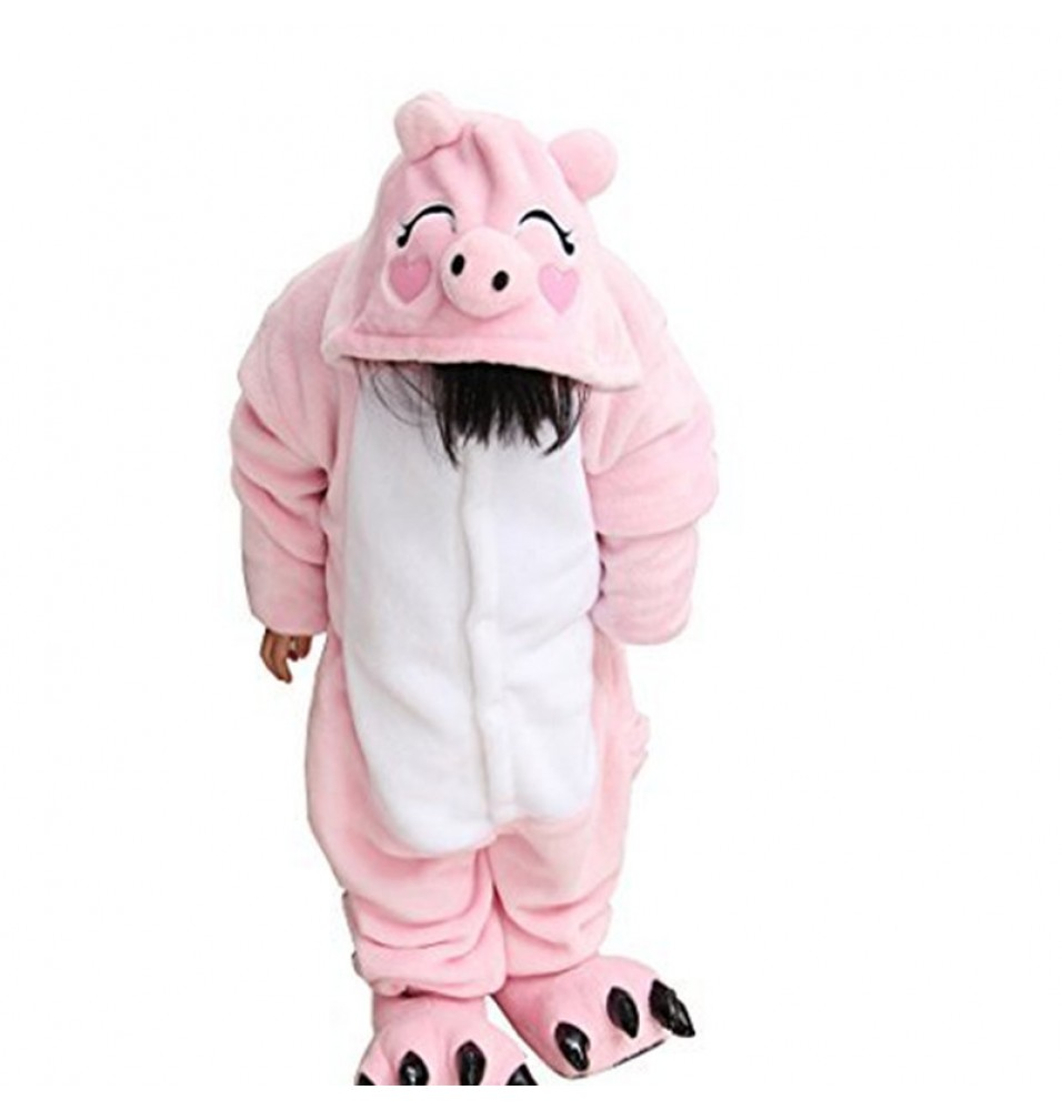 Childrens Halloween Pink Pig Onesie Kigurumi Onesie Animal Pajama Cosplay For Kids