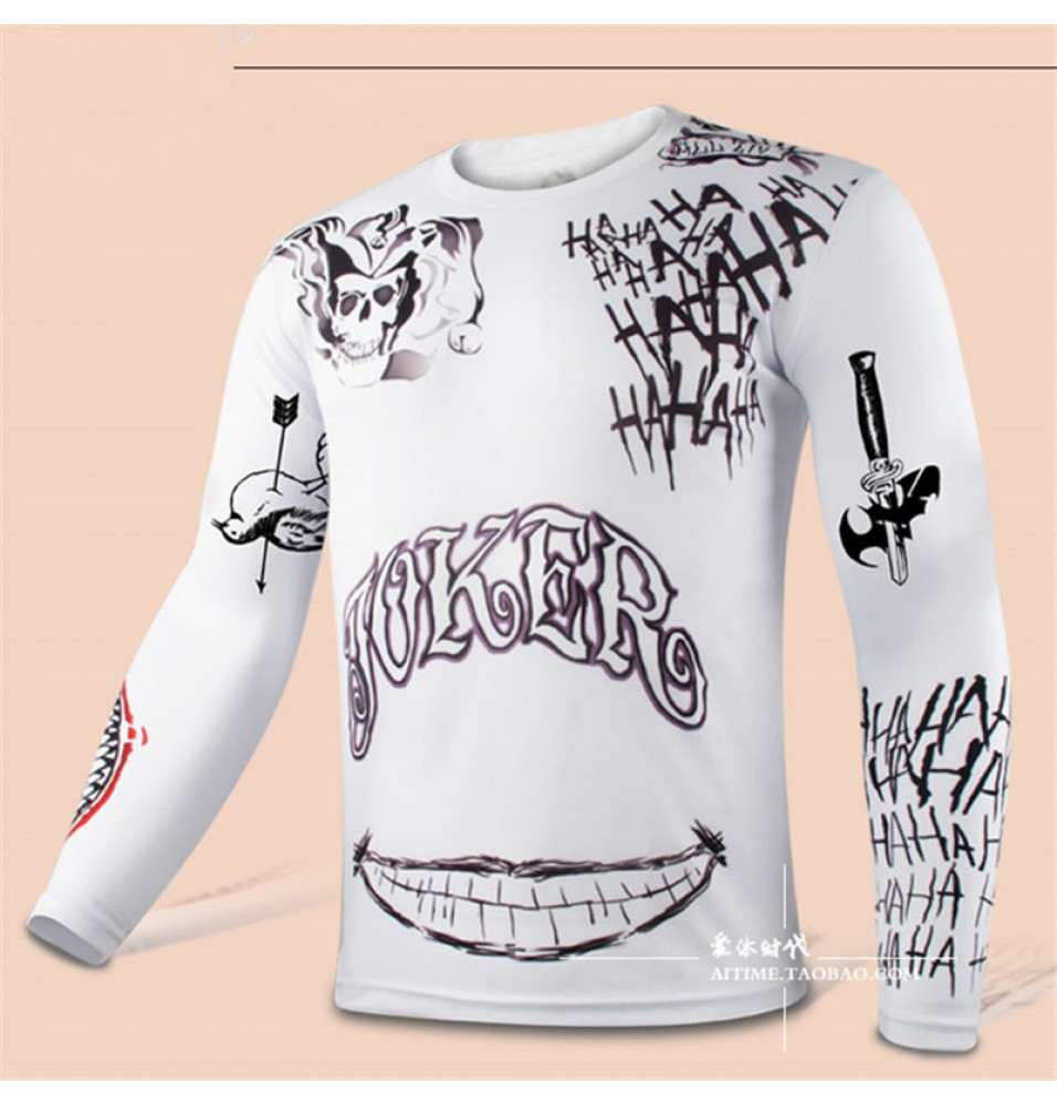 Cool Men Compression DC Suicide Squad joker Cosplay Sport Tight Tops white Long T-shirt