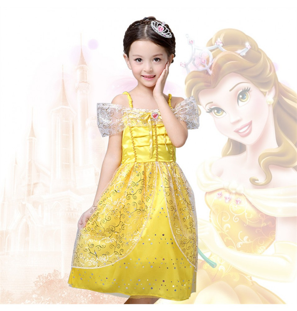 Disney Beauty and the Beast Belle Princess Girls Dress Costume Cosplay For Kids