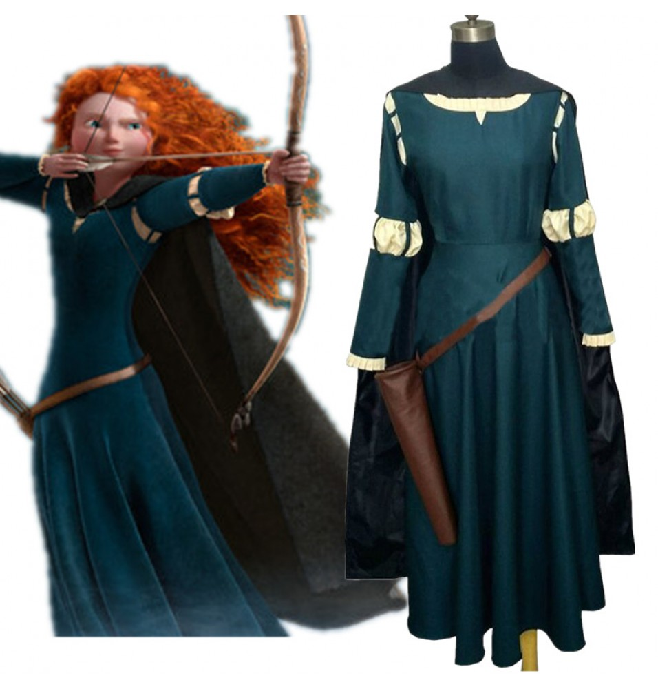 Disney Brave Princess Merida Dress Cosplay Costume Gown Outfit--Deluxe Ver