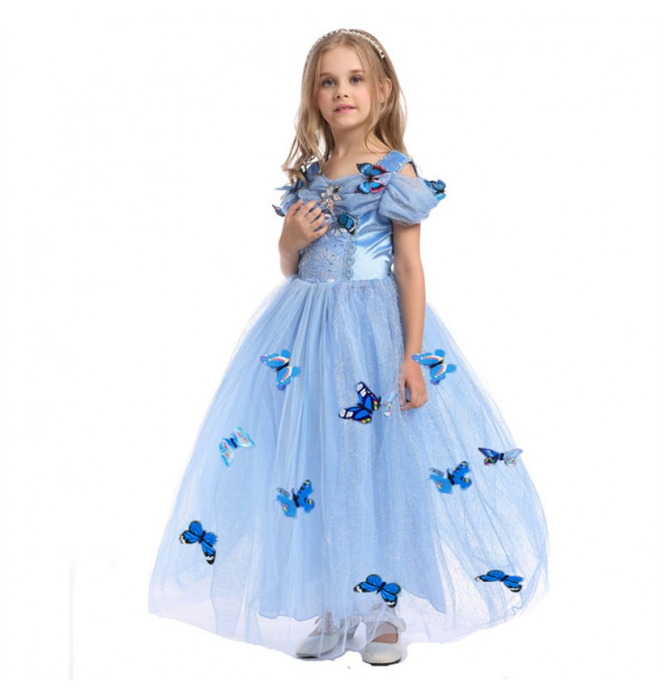 Disney Cinderella Princess Dress Cosplay Halloween Dress For Kids