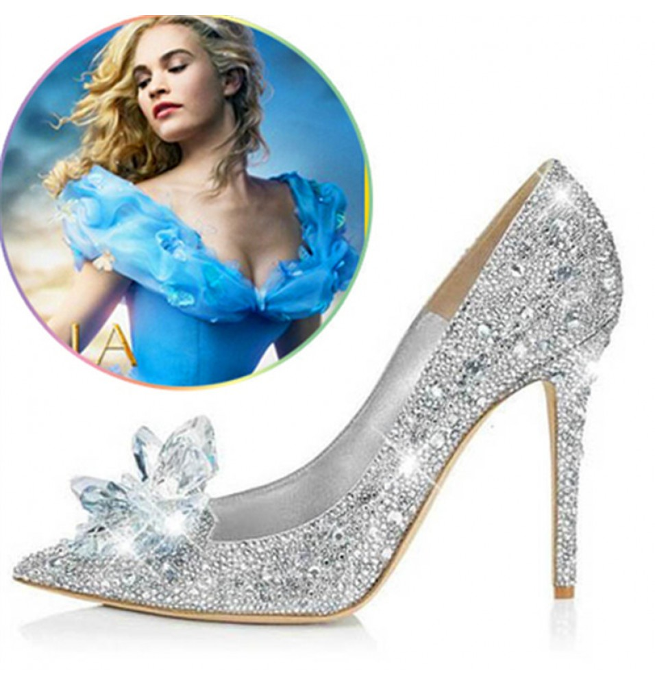 Disney Movie Cinderella Cosplay Lily Glass Slipper Silver Wedding Shoes
