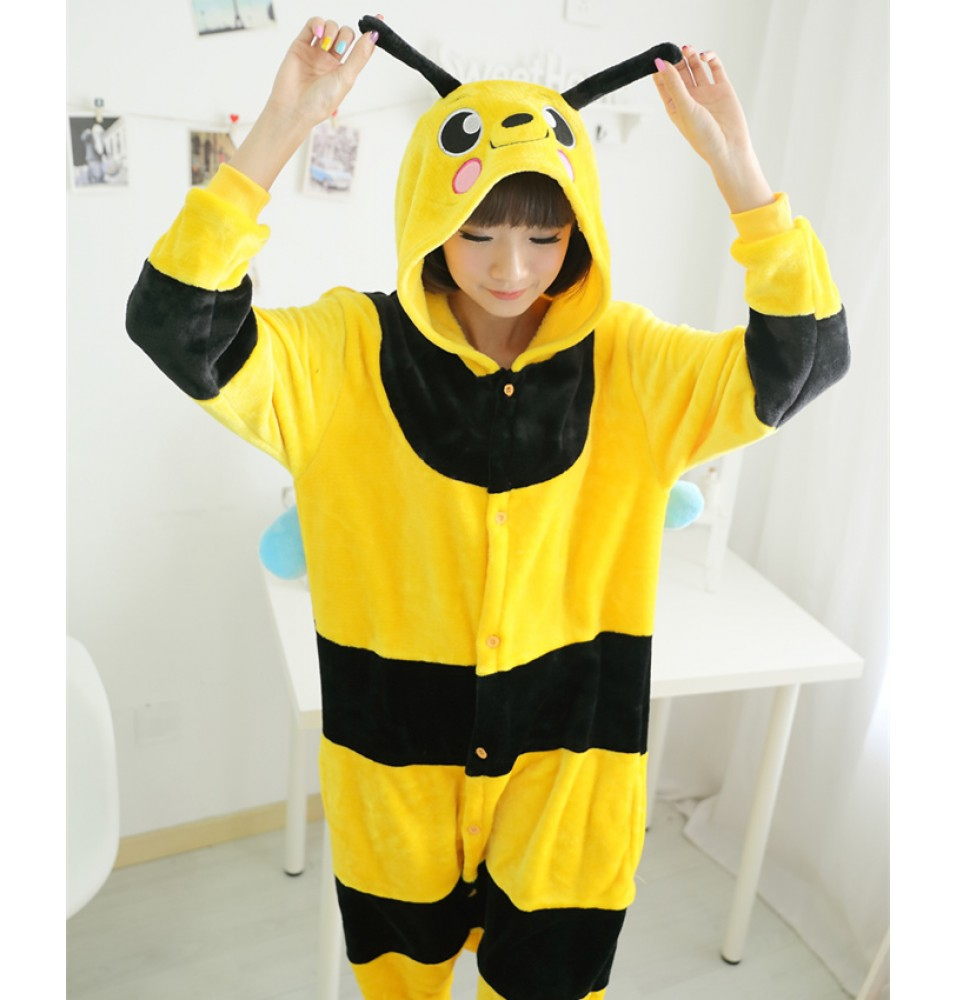 Bee Onesies Pajamas Unisex Flannel Kigurumi Onesies Winter Animal Pajamas For Adults