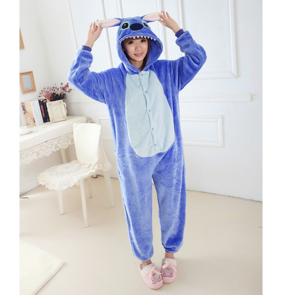 Stitch Onesies Pajamas Unisex Flannel Kigurumi Onesies Winter Animal Pajamas For Adults