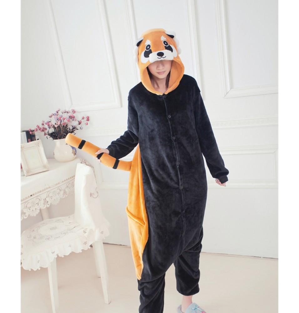 Raccoon Onesies Pajamas Unisex Flannel Kigurumi Onesies Winter Animal Pajamas For Adults