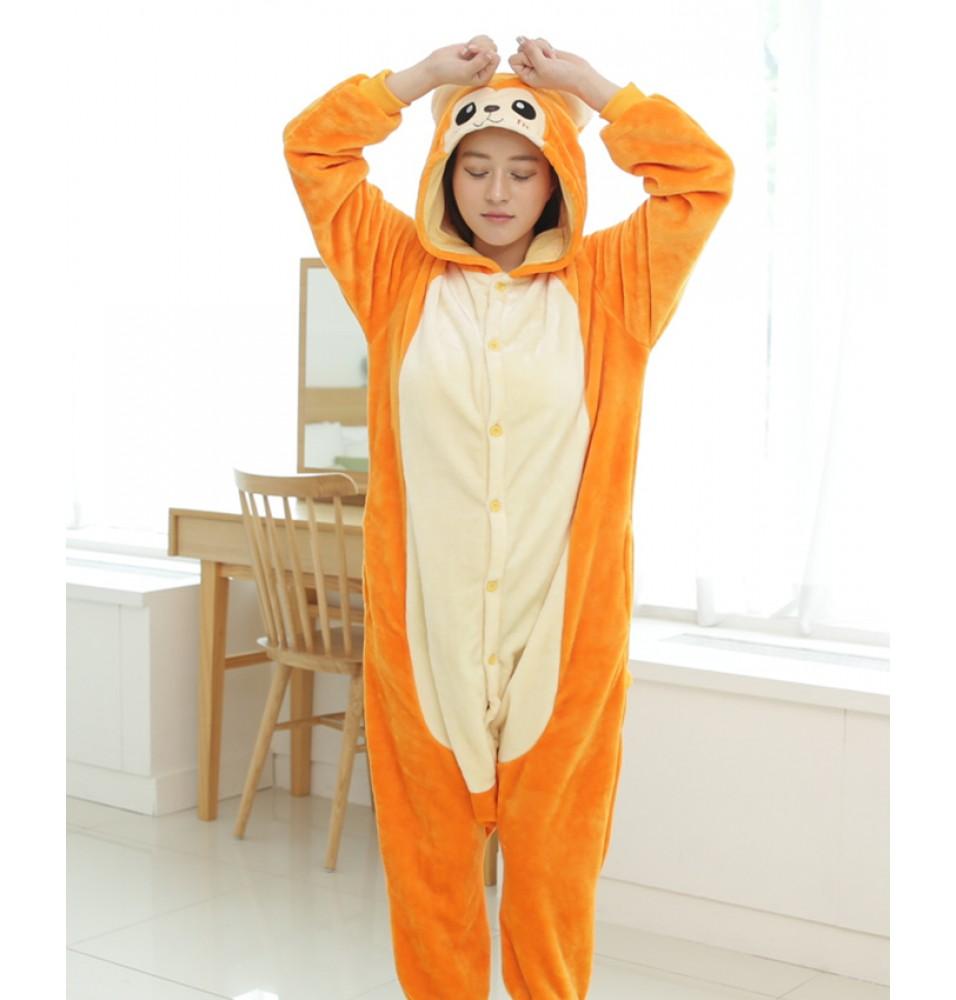 Snub-Nosed Monkey Onesies Pajamas Unisex Flannel Kigurumi Onesies Winter Animal Pajamas For Adults