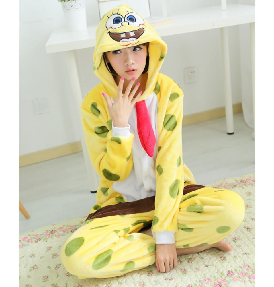 SpongeBob Onesies Pajamas Unisex Flannel Kigurumi Onesies Winter Animal Pajamas For Adults
