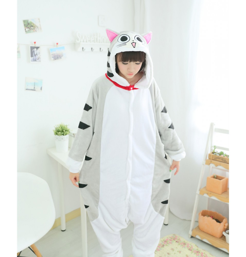 Cat Onesies Pajamas Unisex Flannel Kigurumi Onesies Winter Animal Pajamas For Adults