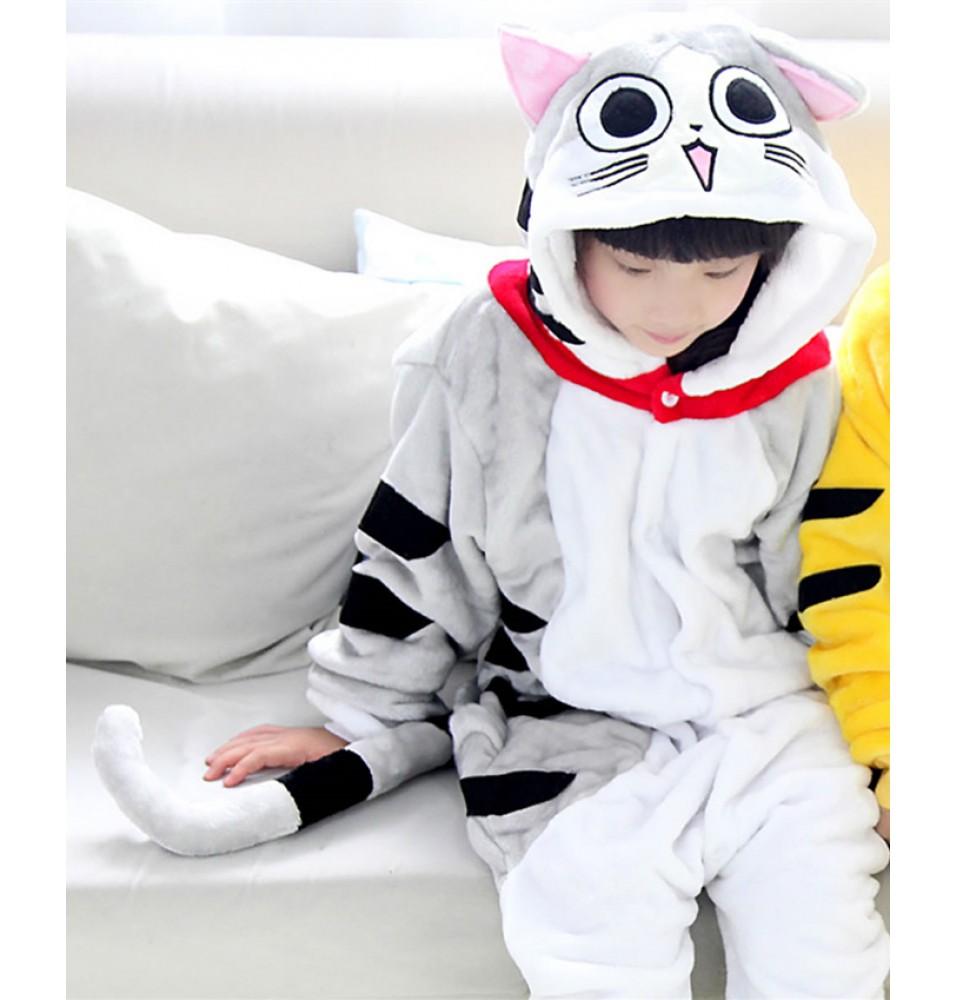 Cat Onesies Pajamas Flannel Children Kigurumi Onesies Winter Animal Pajamas For Kids