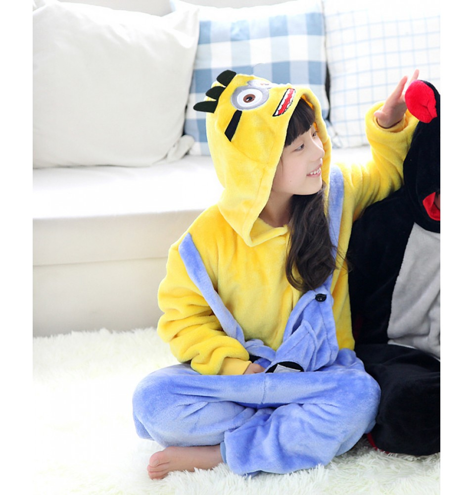 Minions Onesies Pajamas Flannel Children Kigurumi Onesies Winter Animal Pajamas For Kids