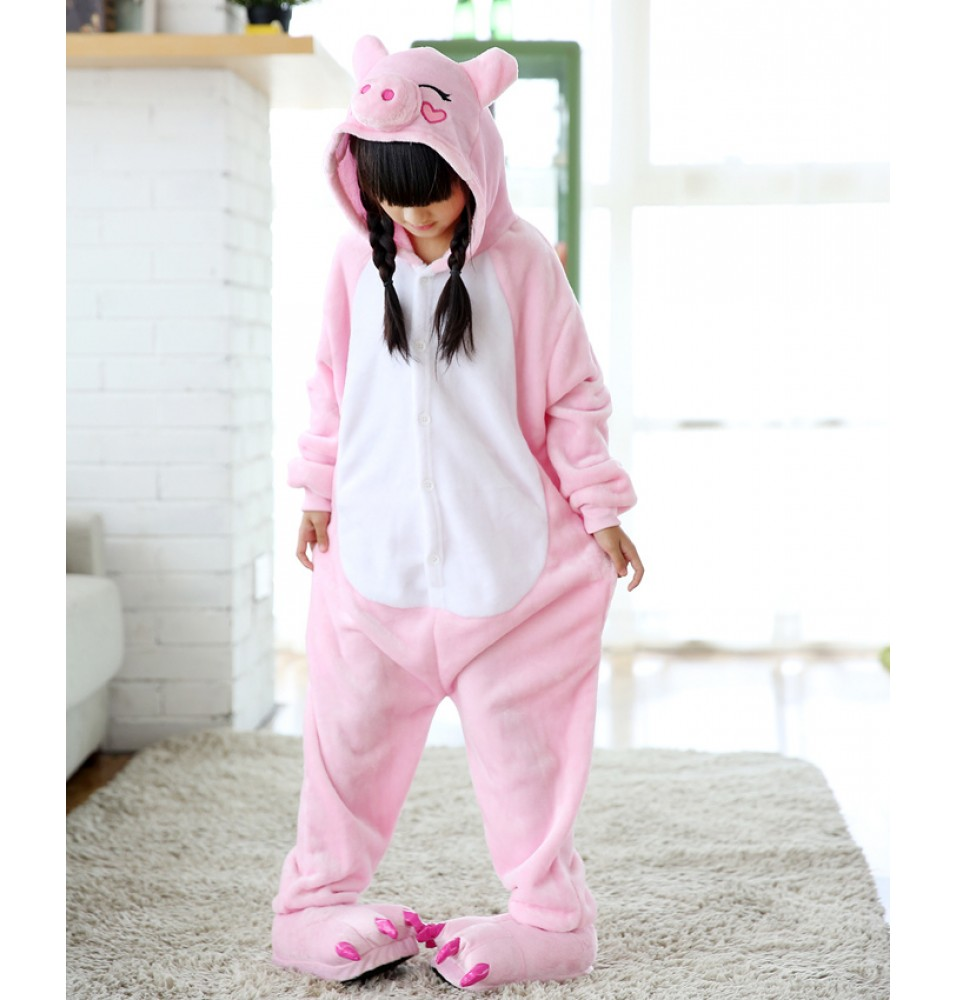 Pink Pig Onesies Pajamas Flannel Children Kigurumi Onesies Winter Animal Pajamas For Kids
