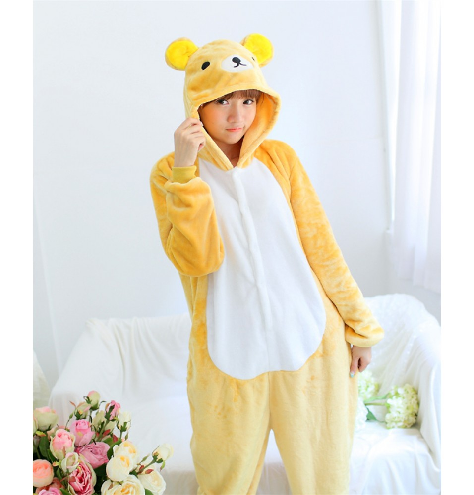 Rilakkuma Onesies Pajamas Unisex Flannel Kigurumi Onesies Winter Animal Pajamas For Adults
