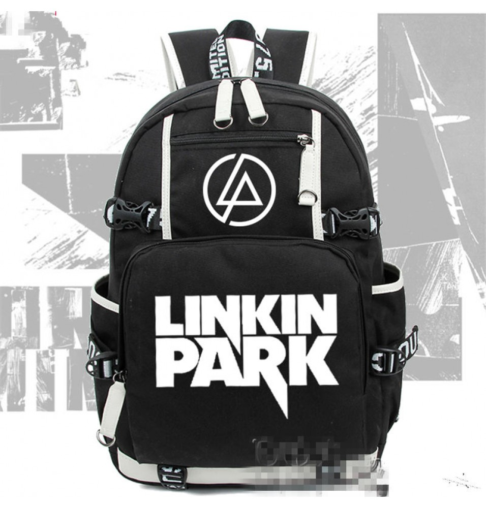 Linkin Park Logo Luminous Canvas Backpack Schoolbag