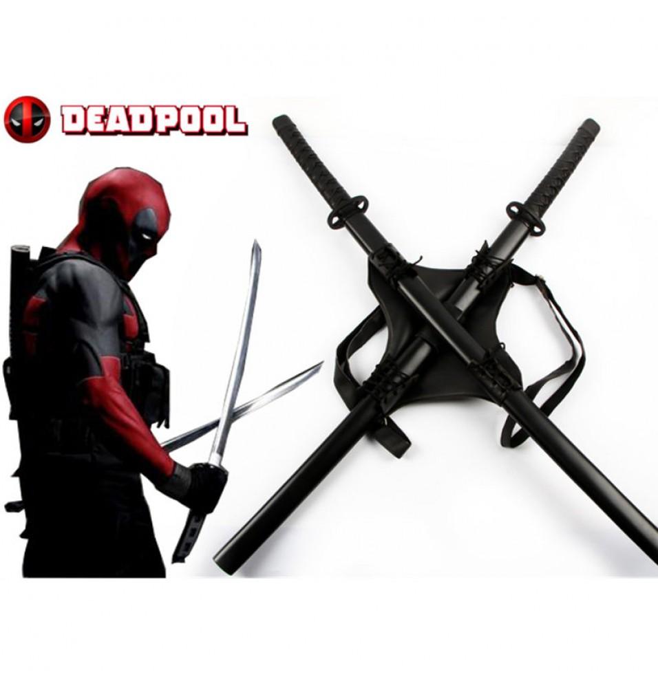 Marvel Deadpool Cosplay Backpack Swords Set Props